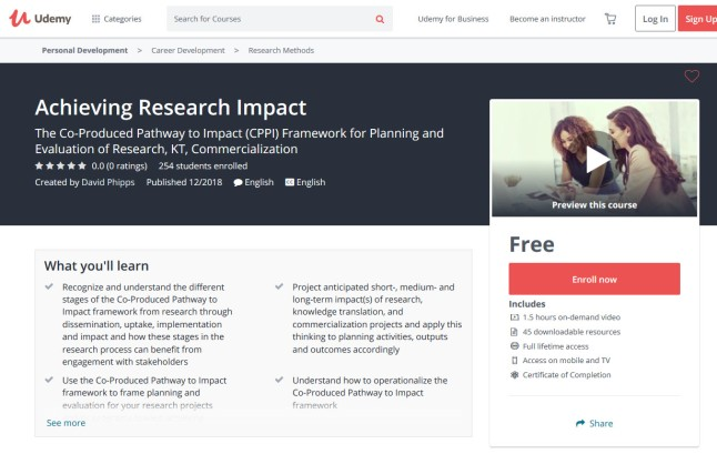 Landing page for David Phipps' course titled Achieving Research Impact